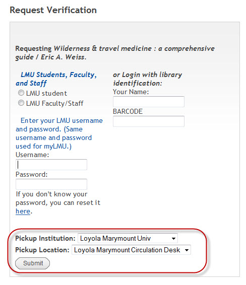 Login box with drop down menu for Pickup Institution and Pickup Location highlighted showing drop down library options