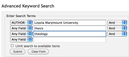 """Example advanced search with first line set to Author: Loyola Marymount, second line """"thesis"""", third line """"theology"""""""