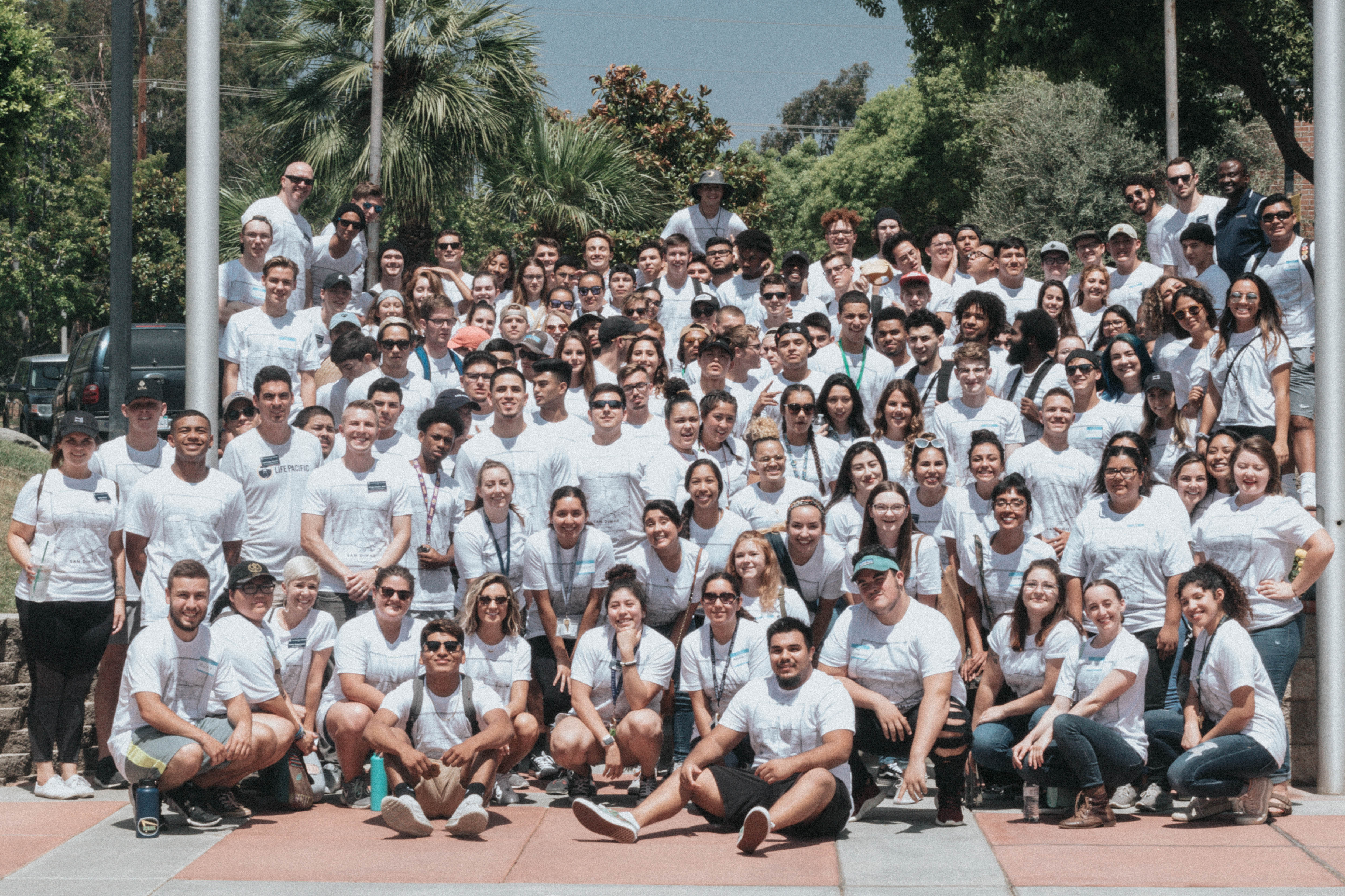 Group picture of new students during annual Life Pacific's annual City Serve event.