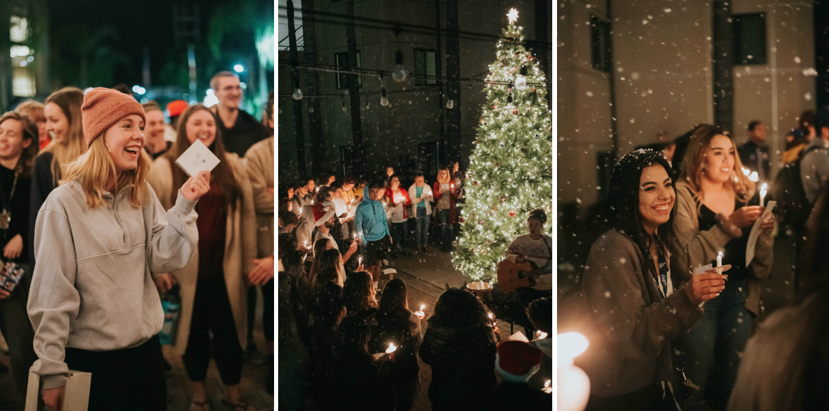 Three photos of students participating in candlelight service and Christmas tree lighting.
