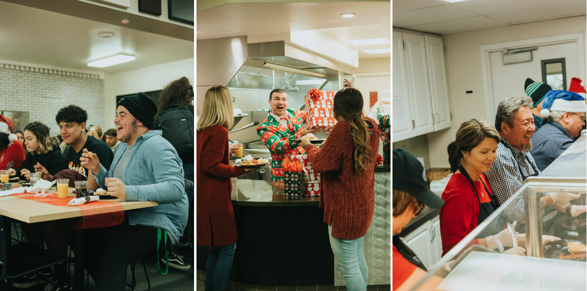 Photos of faculty serving students midnight breakfast in the LPC cafe.