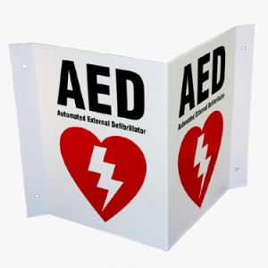 AED 3 way sign