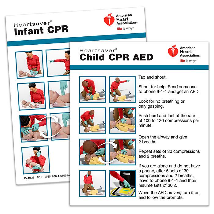 Heartsaver Child Infant Cpr Wallet Card 2015 Pk 100 Lifesavers Inc