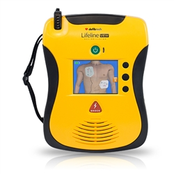 AED Standard Package: DCF-100 (DDU-100A, DBP-1400, DDP-100A, 9V, user manual, quick-use card) close up
