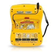 AED Standard Package: DCF-100 (DDU-100A, DBP-1400, DDP-100A, 9V, user manual, quick-use card) back view