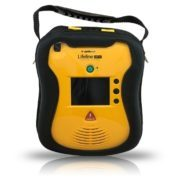 AED Standard Package: DCF-100 (DDU-100A, DBP-1400, DDP-100A, 9V, user manual, quick-use card) front view