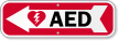 AED Sign with Left Arrow