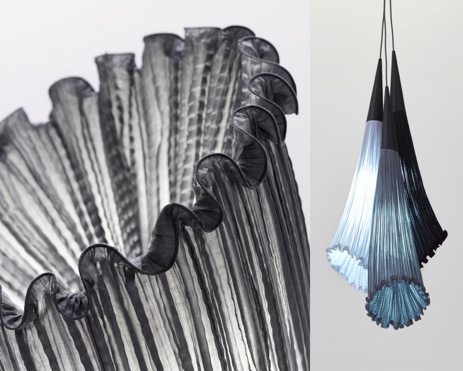 Left: Aqua Creations: Morning Glory Collection-Horn Floor Lamp, Right: Aqua Creations: Morning Glory Collection-Chili Pendant