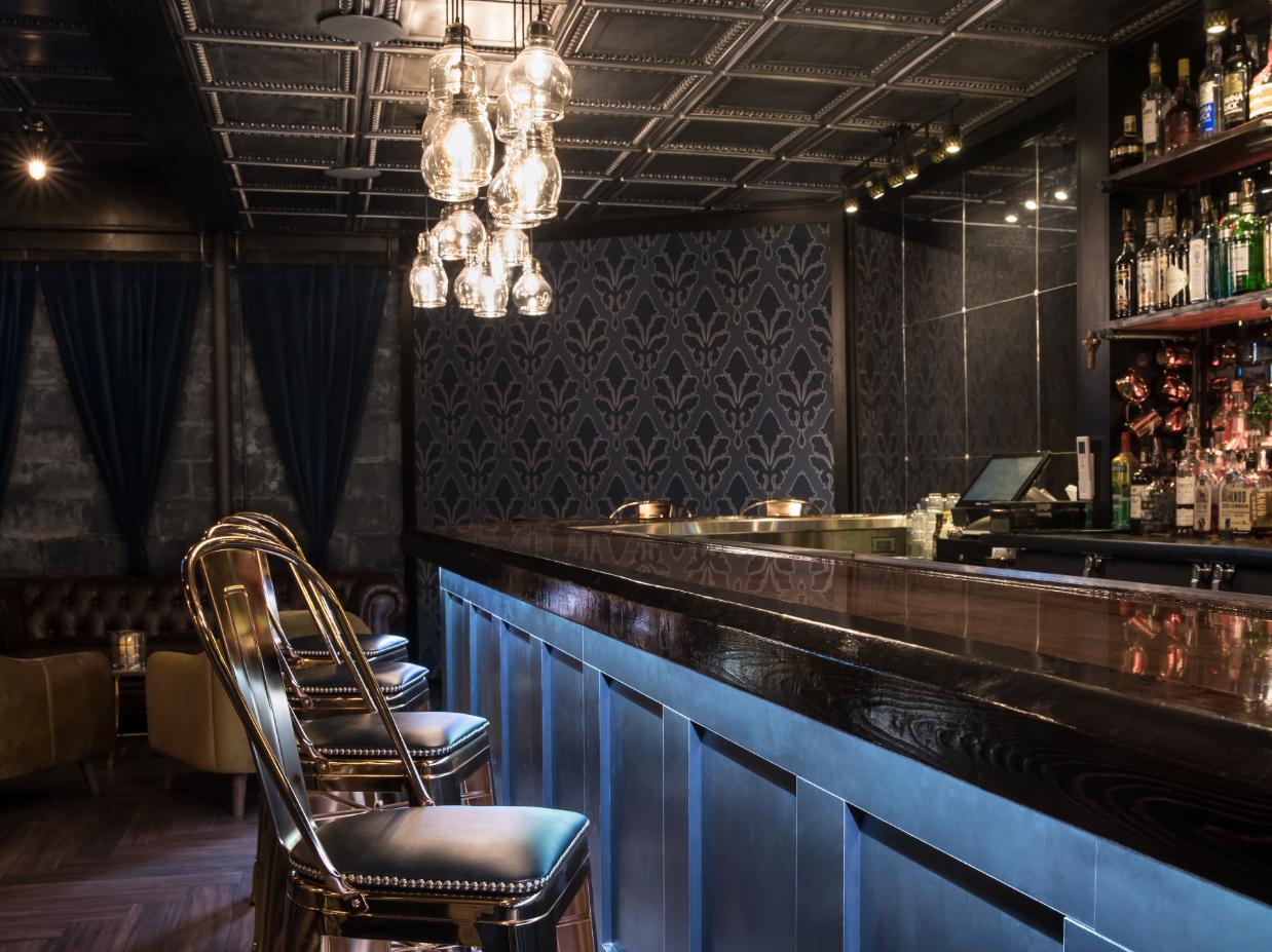 Charlotte's Speakeasy Interior designed by Leah Plevrites