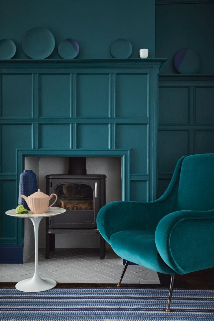 Little Greene - Mid Azure Green Living Room
