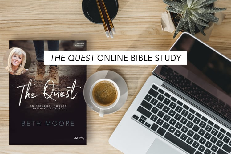 logo for online women's bible study beth moore the quest, computer, coffe, book
