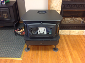 A black portable fireplace