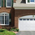 A beautiful white residential garage door
