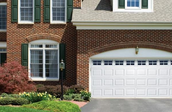 A beautiful white residential garage door