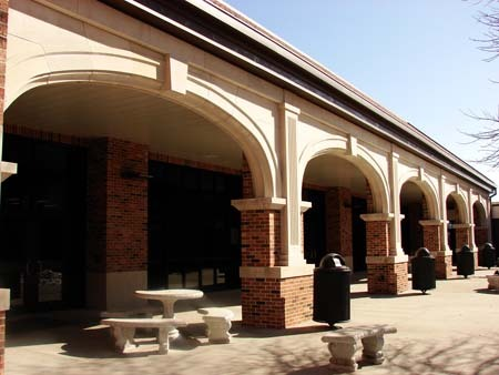 Craftily architected arches outside of Hickman