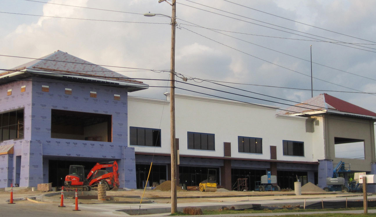 The middle stages of commercial construction project by Huebert Builders in Columbia, Mo.