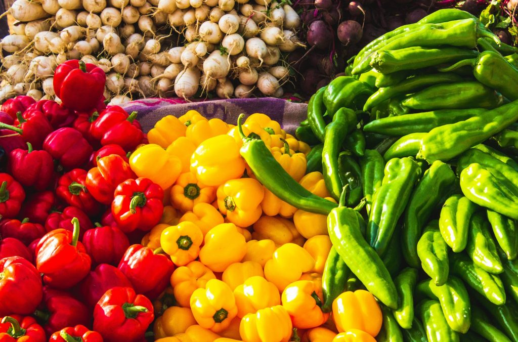fruits and vegetables at supermarket
