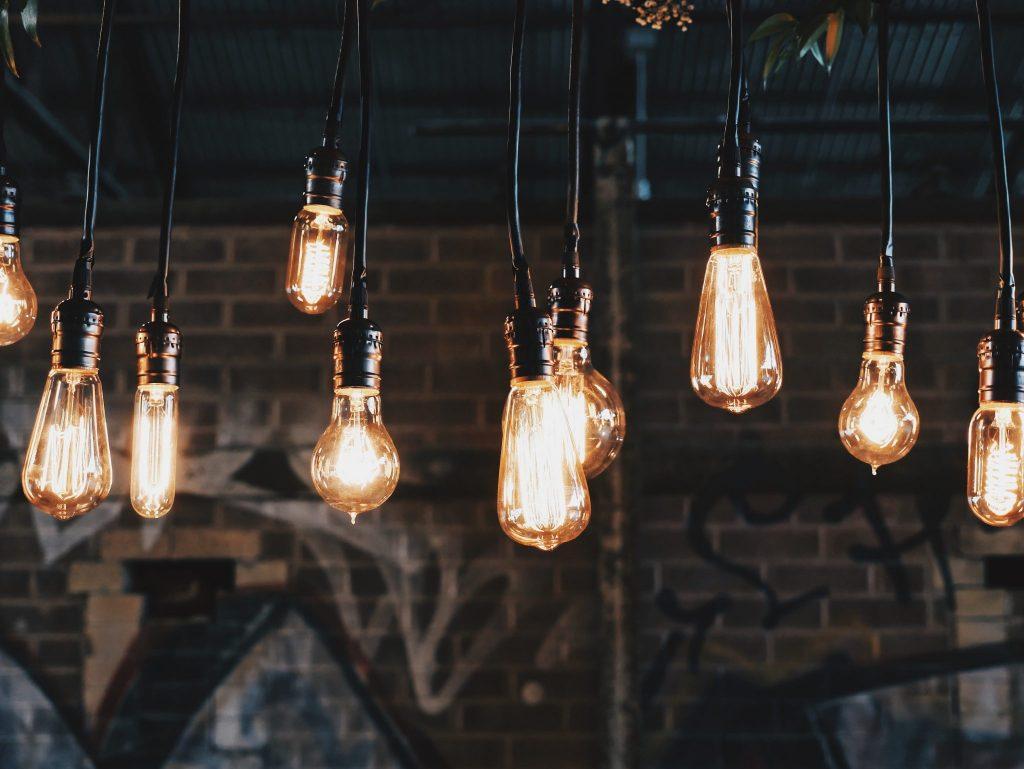 Edison Bulbs on display