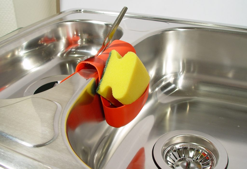 Dual stainless steel sink with garbage disposal