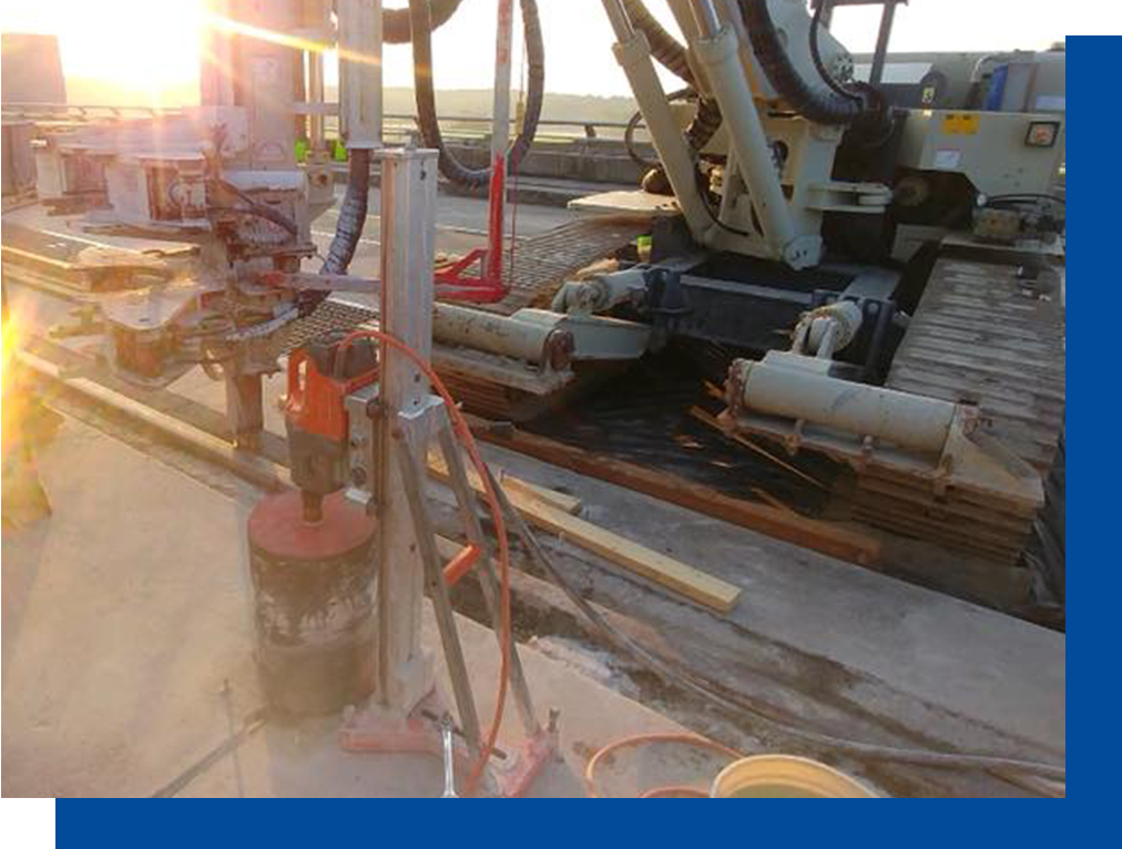 Core drilling machinery being used for a new project