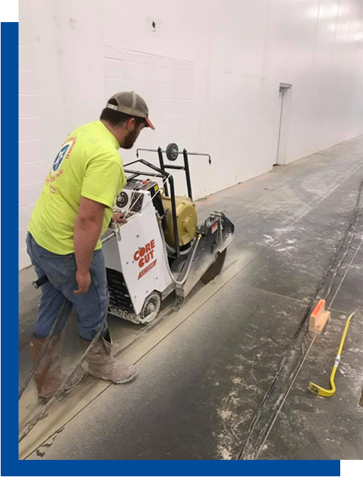 Slab saw curling new concrete
