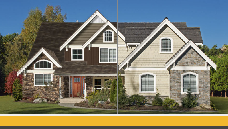 Exterior home remodeling by TrueSon Exteriors before and after side-by-side