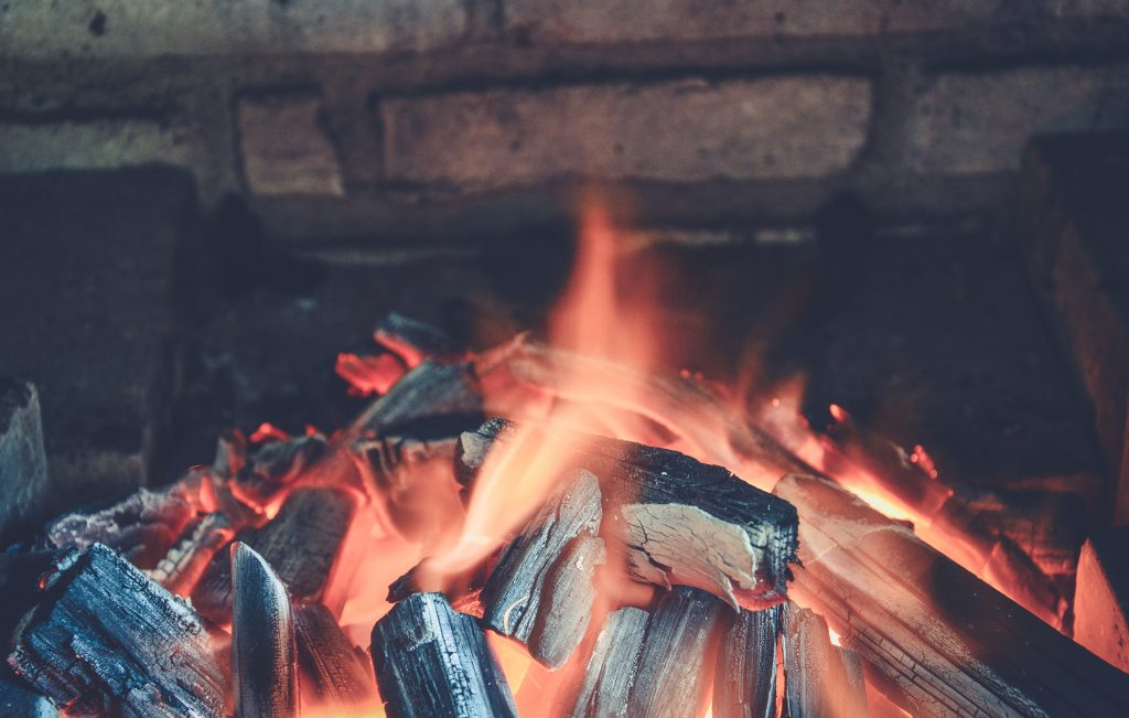 Wood fire burning in fireplace