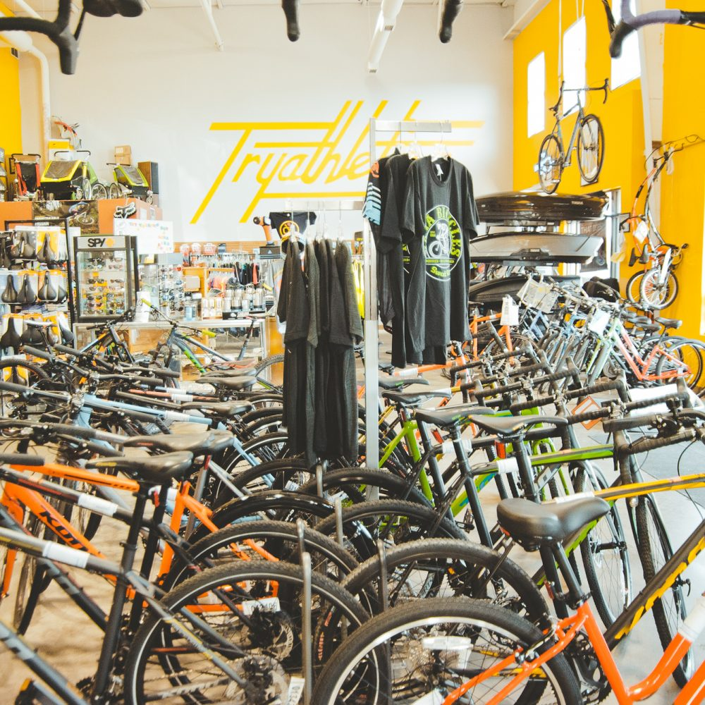 Inside of Tryathletics bike section