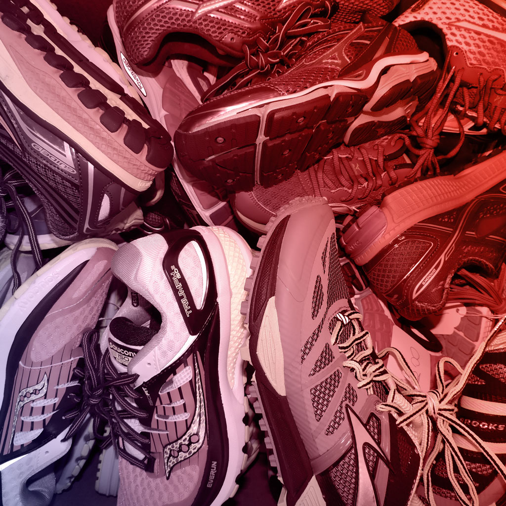 Red edit tints piture, running shoes are clustered