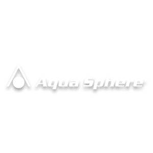 Aqua Sphere swim brand logo image in white