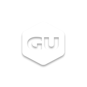 White logo of GU athletic brand