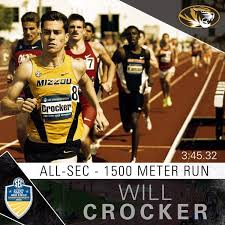 Mizzou track runner, Will Crocker, running in the 1500 meter race