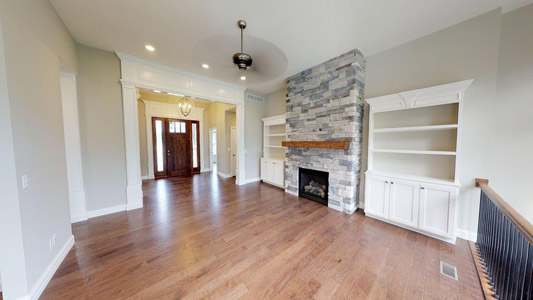 Living area with fireplace and built ins