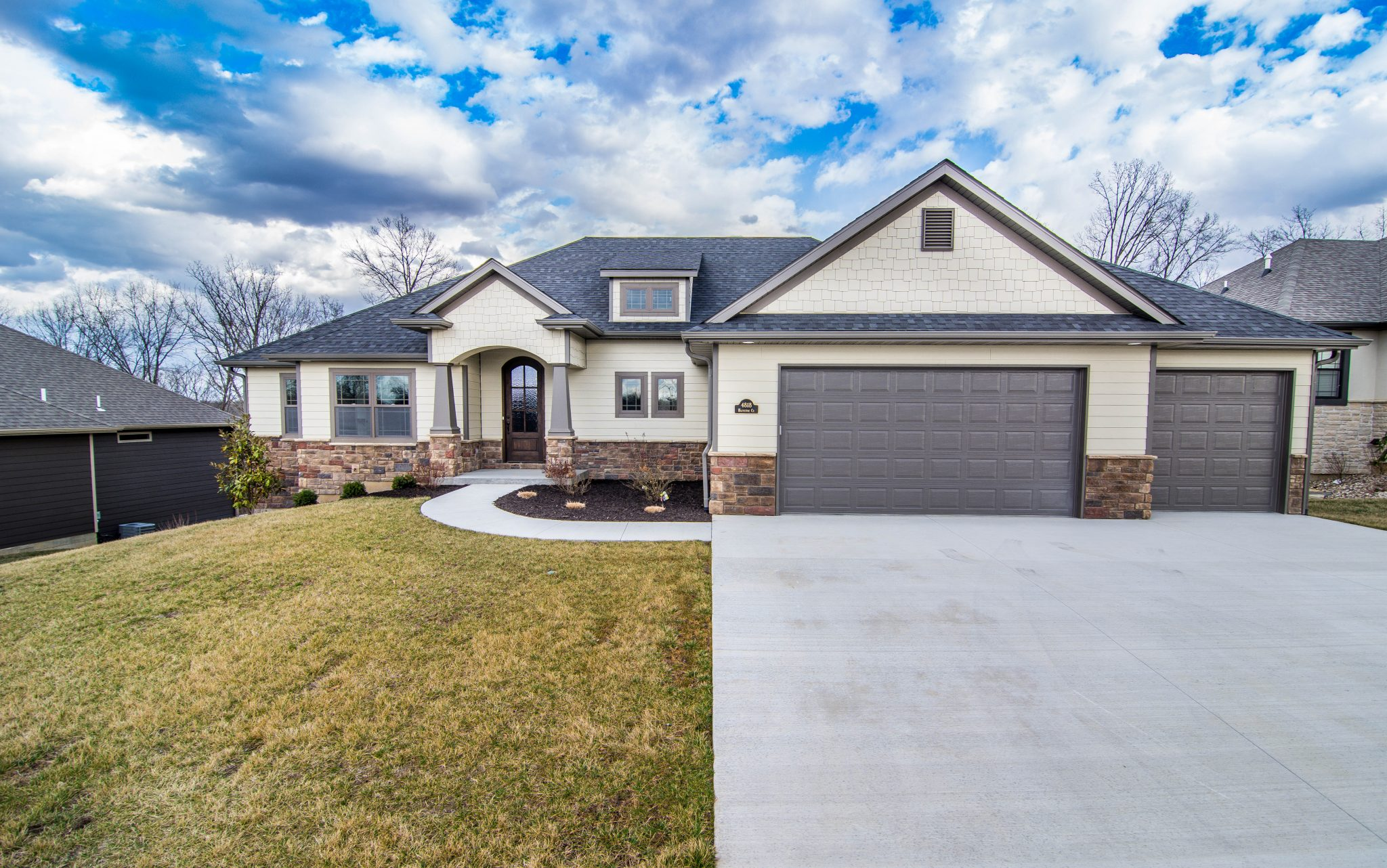 Custom Home with three car garage in Columbia, Mo