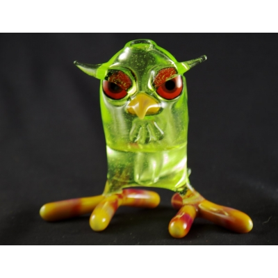 Shack Man Glass - Green Frit Wise Owl