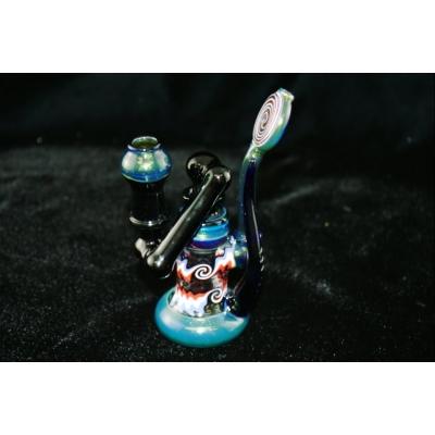 Adami Glass Heady Drop Down Bubbler- Blue/Red