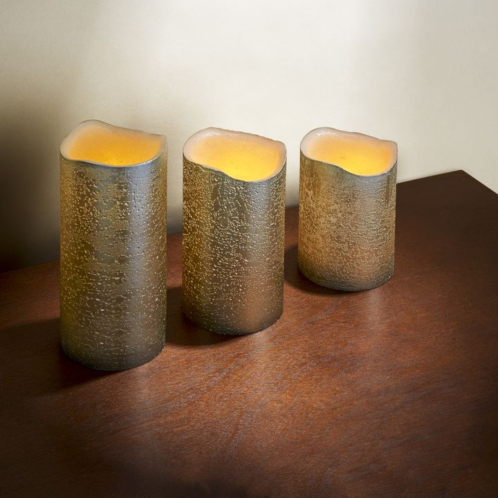 Gold Distressed Melted-Edge Flameless Pillar Candles, Set of 3