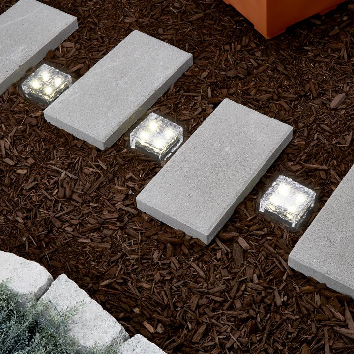 "Iced 4x4"" Solar Brick Light, Warm White"