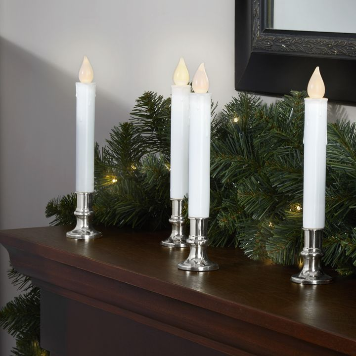"""White 7"""" Resin Flameless Taper Candles with Removable Silver Bases, Set of 4"""