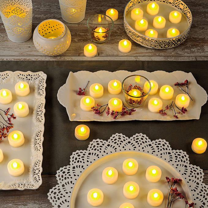 Alma White Flameless Tea Lights, Set of 100
