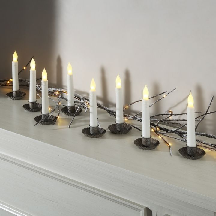 """Cyrus Ivory 6"""" Drip Wax Flameless Taper Candles, Set of 12"""