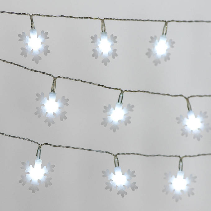 Cool White Snowflake Battery String Lights, Strand of 10