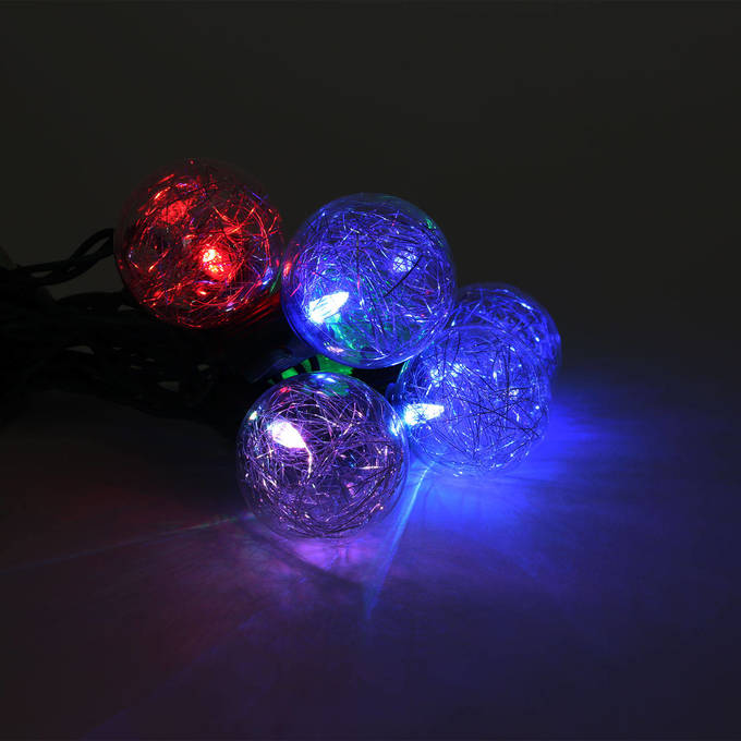 Color Changing Tinsel Plug-in String Lights, Strand of 10 - G16.5 Bulb