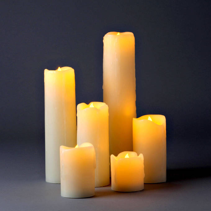 Natural Melted-Edge Drip Slim Flameless Pillar Candles, Set of 6