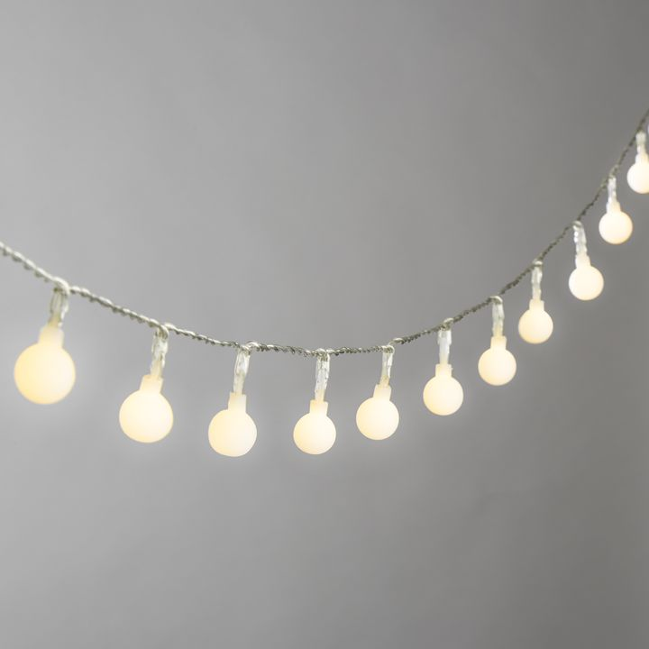 Frosted Warm White Mini Globe Battery String Lights with Timer, Strand of 50