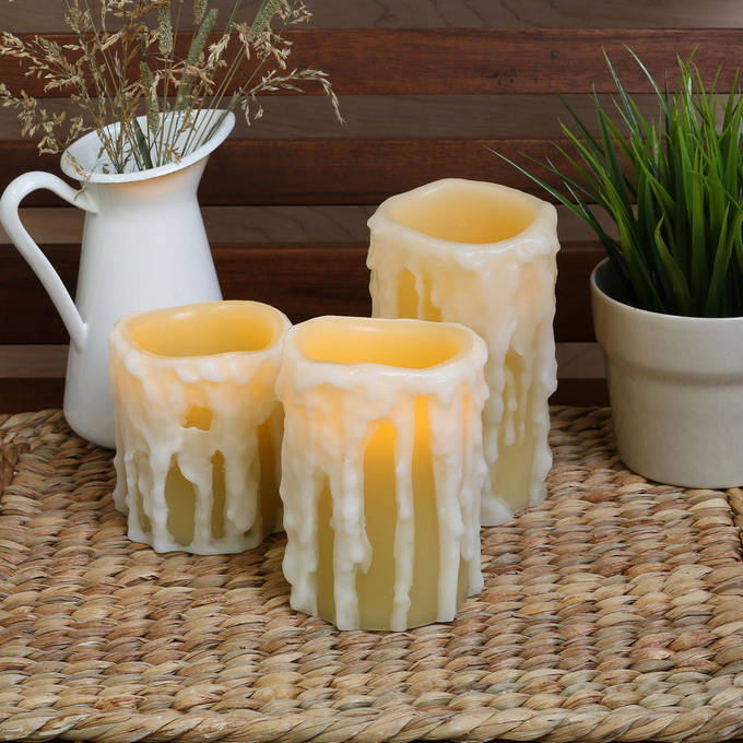 Heavy Drip Wax Flameless Candles with Timer and Remote, Set of 3