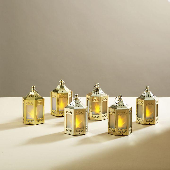 Anthea Gold Mini Holographic Stars Lanterns, Set of 6