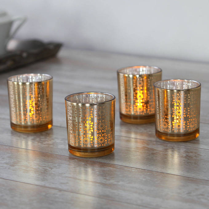 Gold Deco Glass Votives with Poured Wax Tea Light, Set of 4