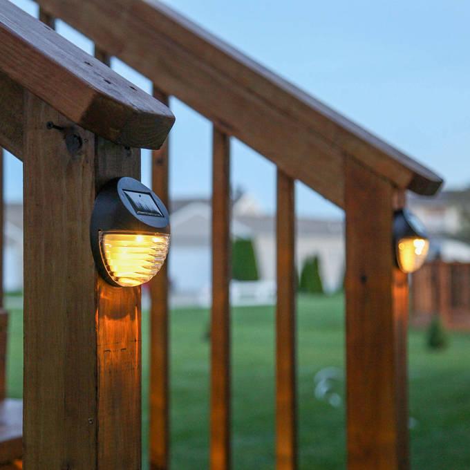 Solar wall lights led outdoor lighting lights brown solar fence lights set of 4 aloadofball Choice Image
