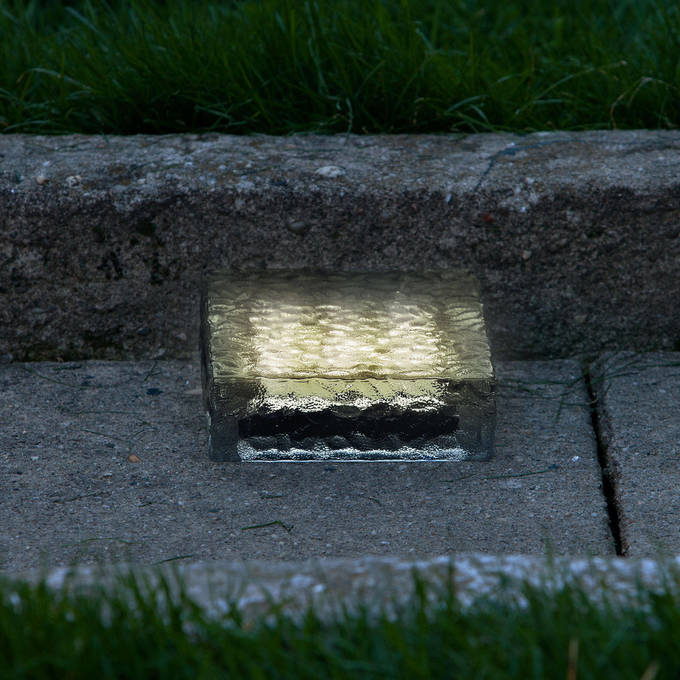 "Iced 6x6"" Solar Brick Light, Warm White"